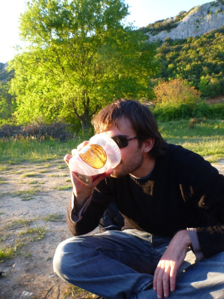 Vivien being a very unsophisticated Frenchman, drinking red wine from a nut pot