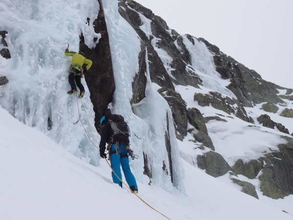 Our guide Fernando putting up some top ropes for us to practice ice climbing on