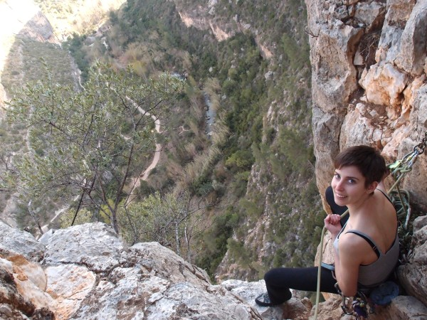 Emily at the belay after we absolutely crushed the steepness of Orgasmatrón 5+