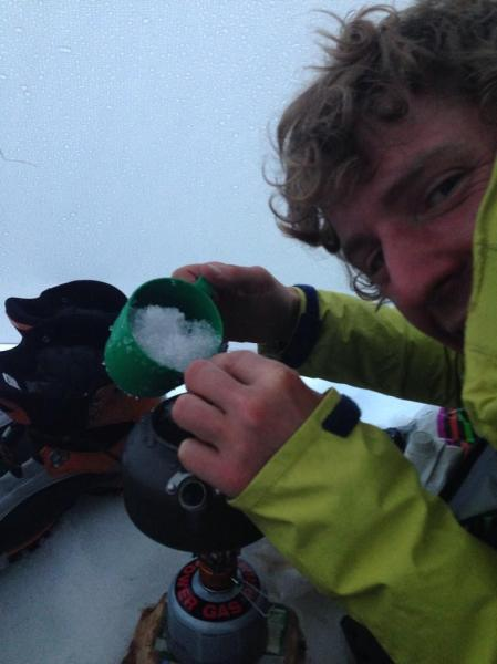 In the tent, melting snow to drink like proper gnarly alpinists!