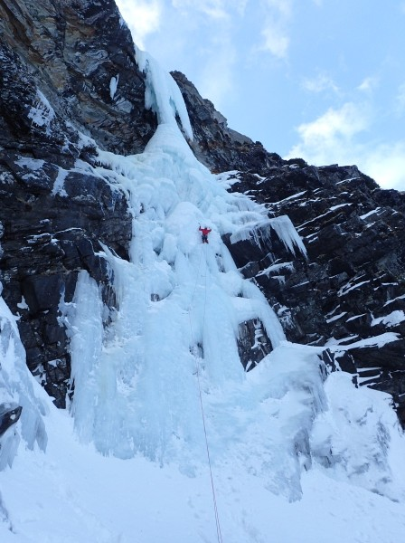 Me on the 60m first pitch of Hard Ice In The Rock Direct