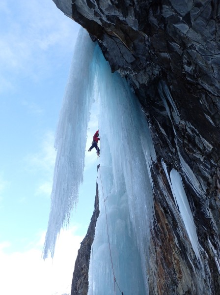 Jake on the WI6 crux pitch of Hard Ice In The Rock Direct!
