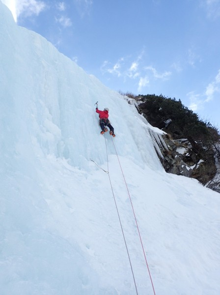 Me on the top pitch of Hard Ice In The Rock Direct